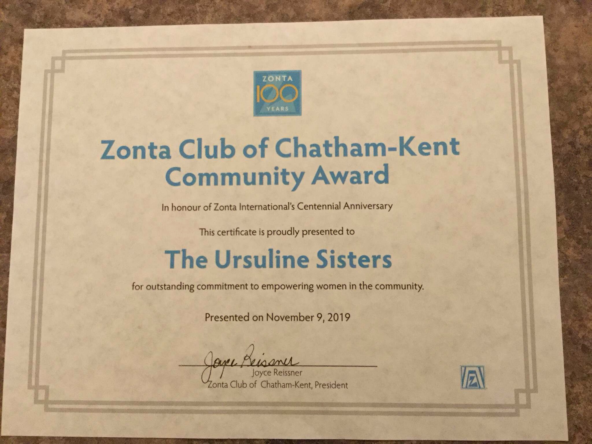 Zonta Club Women bestow the Ursuline Sisters of Chatham
